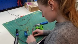 University student learning electronics in the lab